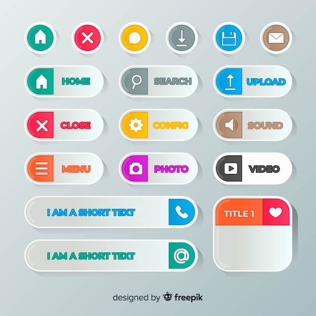 Web button collection in flat style Free Vector