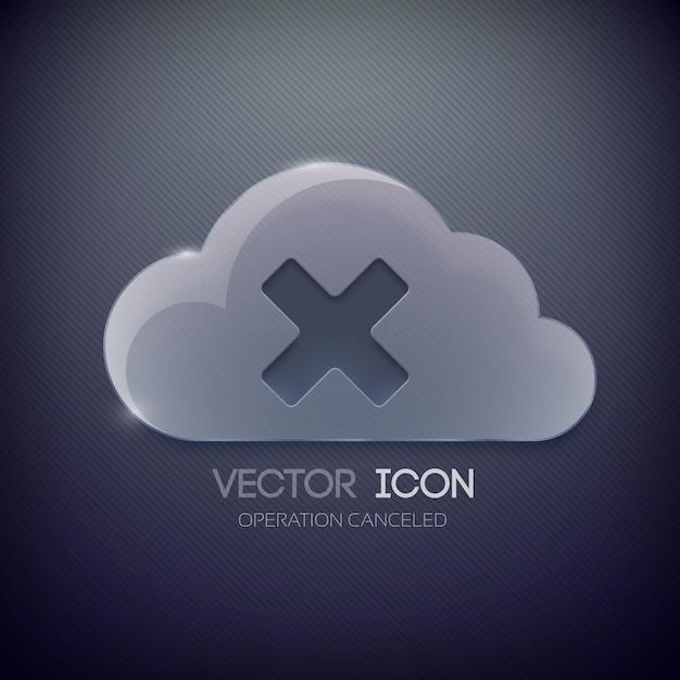 유리 구름과 x 마크와 웹 버튼 디자인 서식 파일 무료 벡터