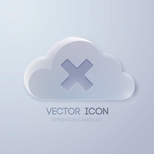Modello di progettazione di pulsanti web con nuvola di vetro e segno x Vettore gratuito