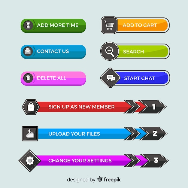Web button set in flat design Free Vector