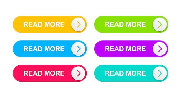 Webボタンは、オレンジ、明るい青、赤、緑、紫、青緑色です。 Premiumベクター