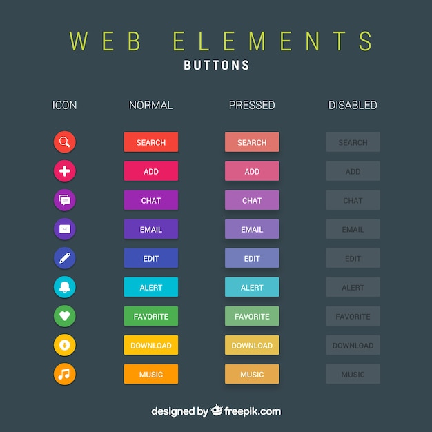 Web buttons collection Free Vector