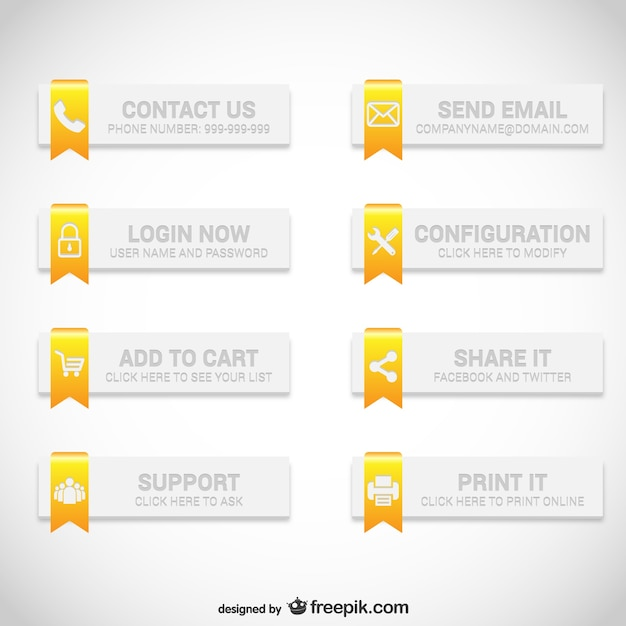 Web Buttons Elegant Set Free Vector