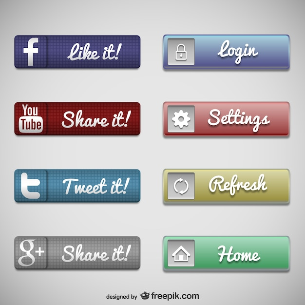 Web buttons social media set Free Vector