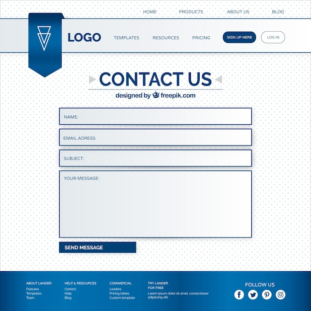 web contact form template vector free download