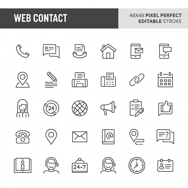 웹 연락처 아이콘 세트 프리미엄 벡터