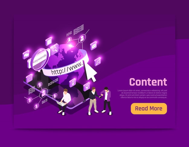 Web content isometric page with world data symbols  illustration Free Vector