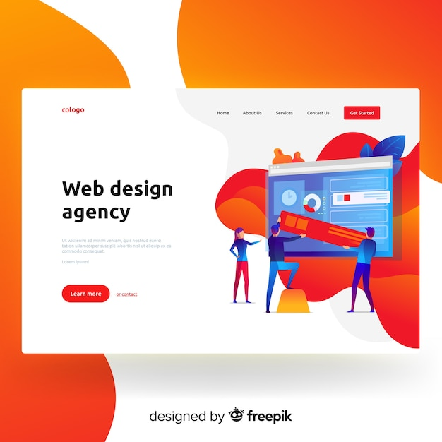 Web design agency landing page  Free Vector