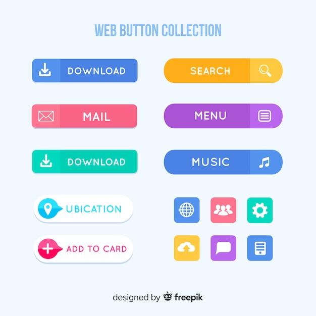 Web design button collection Premium Vector