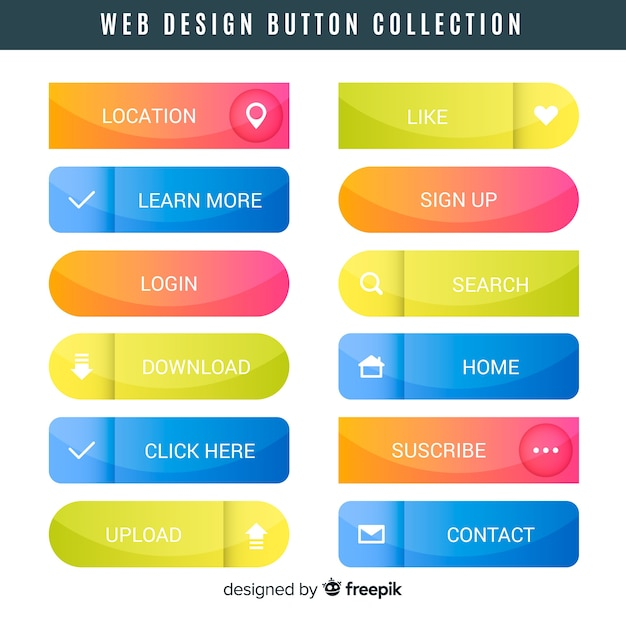 Web design button collection Free Vector