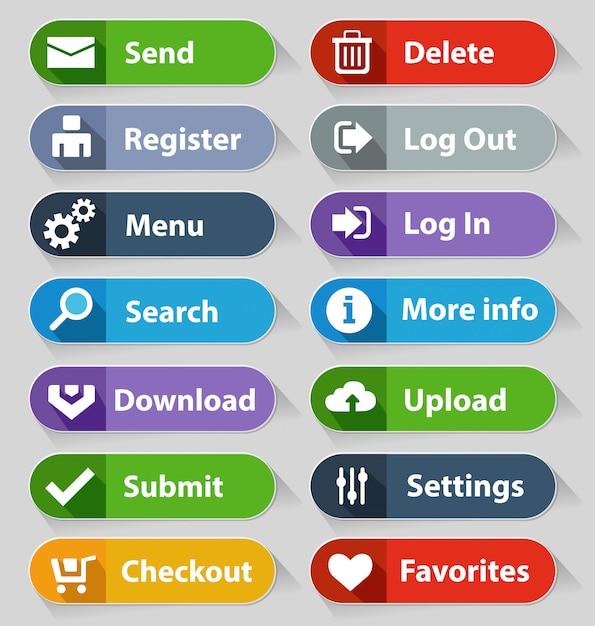 Web design buttons set Premium Vector