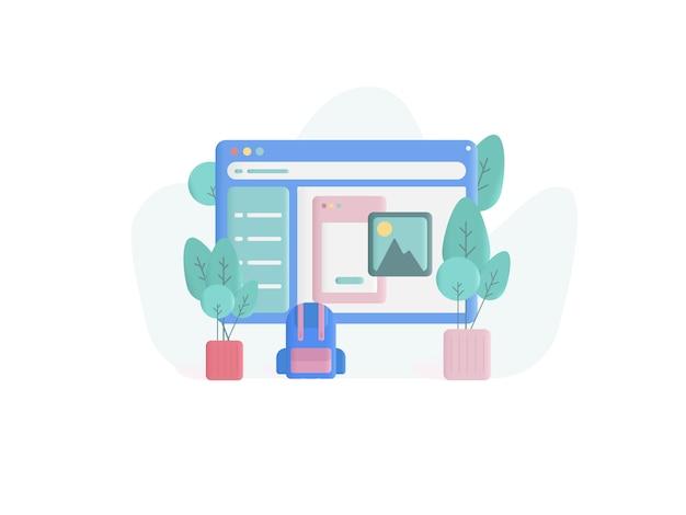 Web design concept illustration flat style Premium Vector