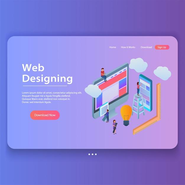 Web design concept isometric gradient landing page illustration Premium Vector
