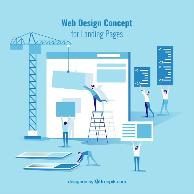 Web design concept for landing page Free Vector