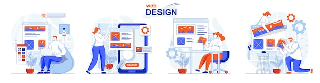 Web design concept set designers create site layouts drawing and places elements