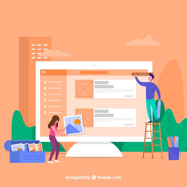 Web design concept with flat design Free Vector
