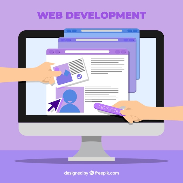 Web design concept with flat style Free Vector
