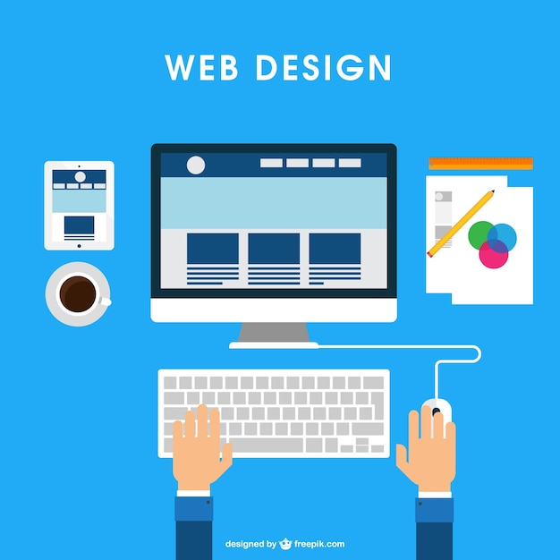 Web design desk Free Vector