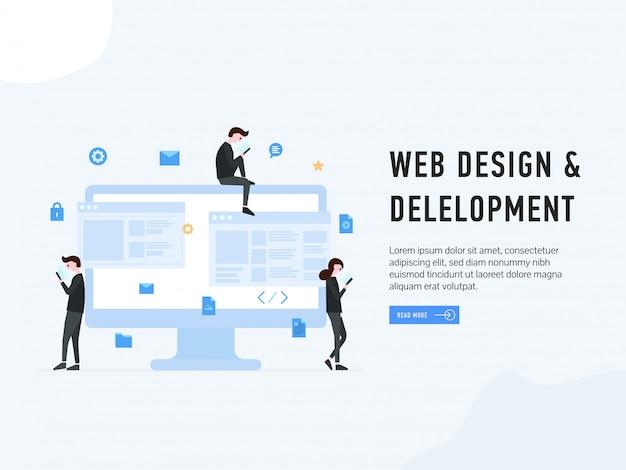 Web design and development landing Premium Vector