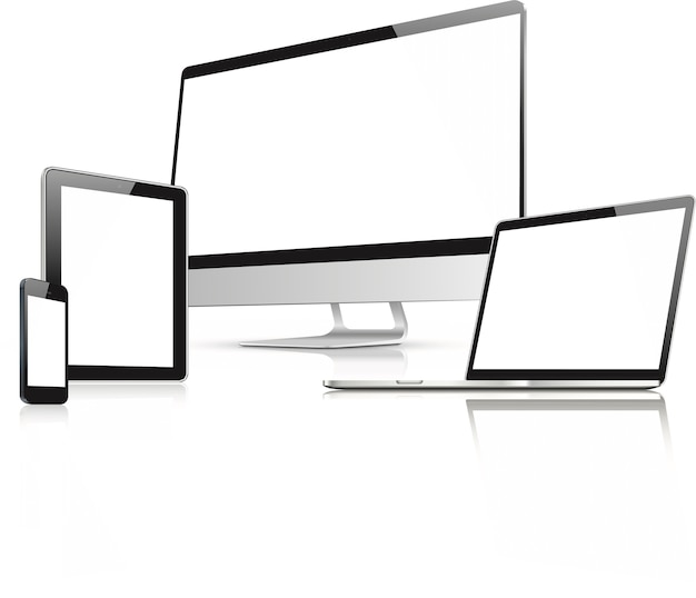Web design in electronic devices vector Premium Vector