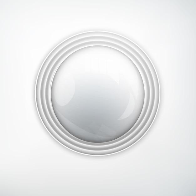 Concetto di elemento di web design con pulsante rotondo realistico argento metallo lucido sulla luce isolata Vettore gratuito