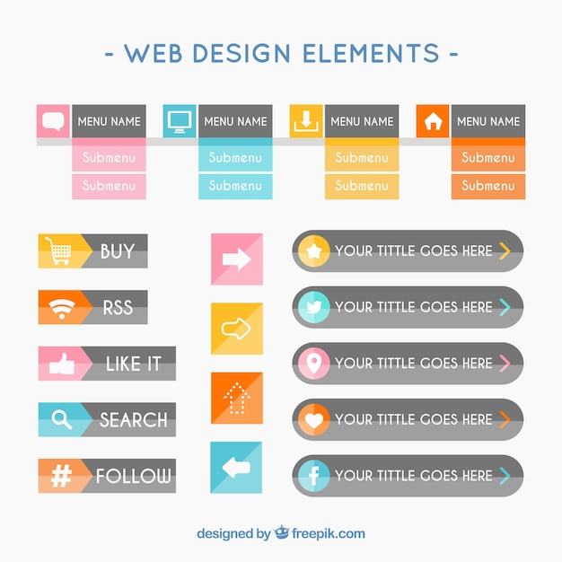 Web design elements in flat style Free Vector