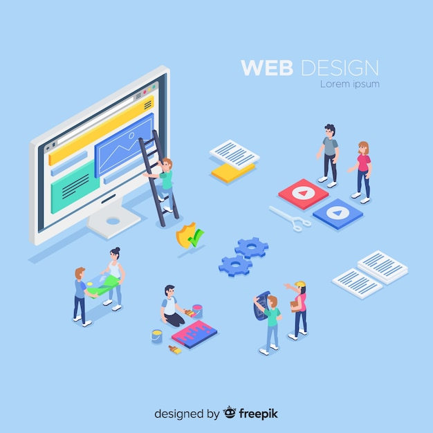 Web design elements in isometric style Free Vector