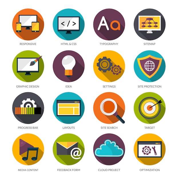 Web design icons set Free Vector