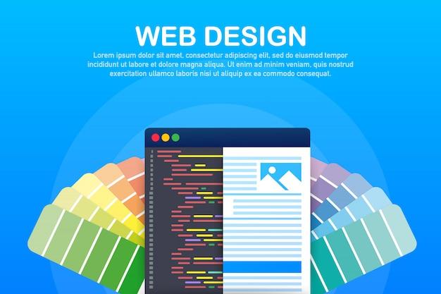 Web design illustration. concept of creating websites, designed banners for ui, ux design and web design. Premium Vector