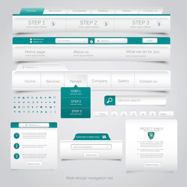 Веб-дизайн навигации установлен. Premium векторы