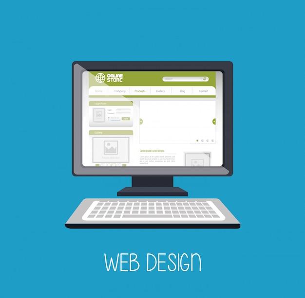 Web design online media Free Vector