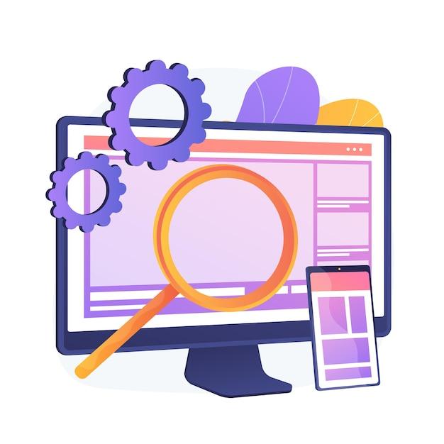 Web design. produzione e manutenzione di siti web. grafica web, design dell'interfaccia, sito web reattivo. icona variopinta di ingegneria e sviluppo del software. Vettore gratuito