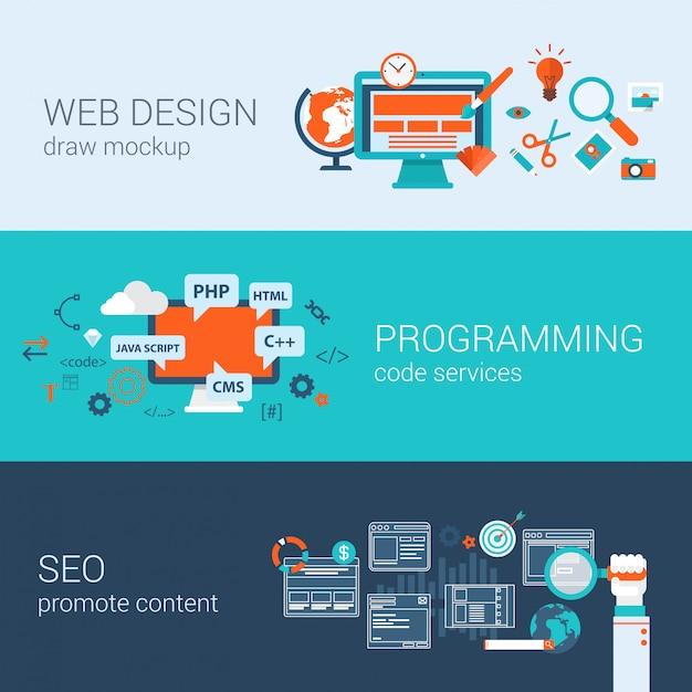 Web design programming seo concept flat design   illustrations set infographics elements. Free Vector