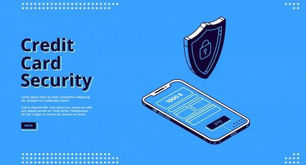 Веб-дизайн с защитой кредитной карты, телефона и робота Бесплатные векторы