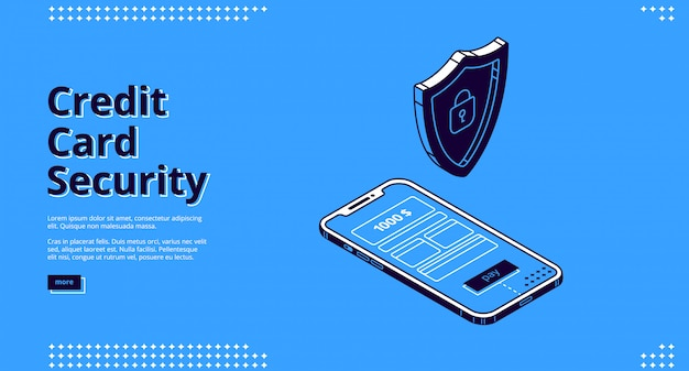 Web design with credit card security, phone and robot Free Vector