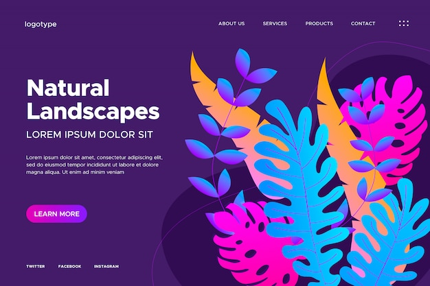 Web design with gradient leaves Free Vector