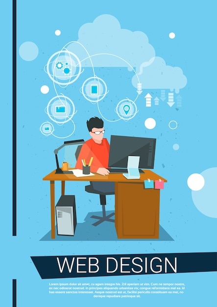 Web Designer Business Man Work Desktop Computer Workplace Premium Vector