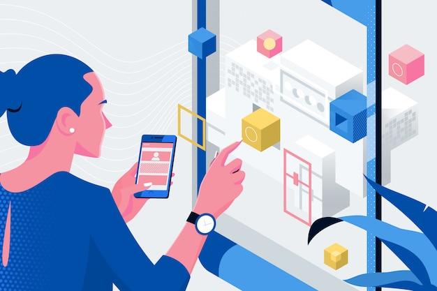 Web designer planning application for mobile phone Premium Vector