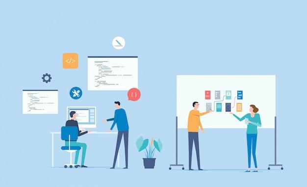 Web開発者と開発チームの作業コンセプト Premiumベクター
