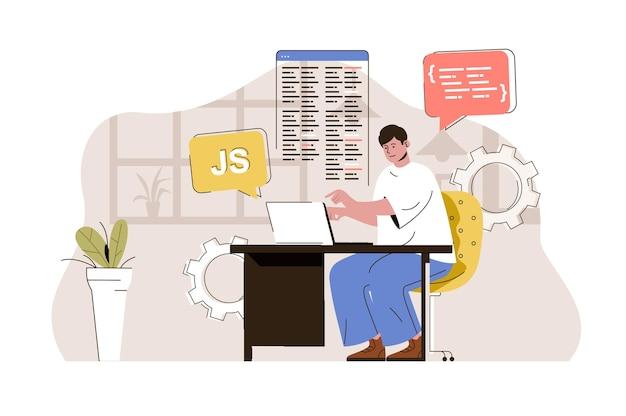 Web developer concept designer develops site writes code creates layout
