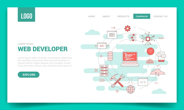 円のアイコンとweb開発者の概念 Premiumベクター