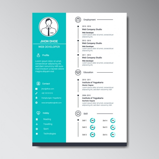 web developer cv template free download sample pdf resume word