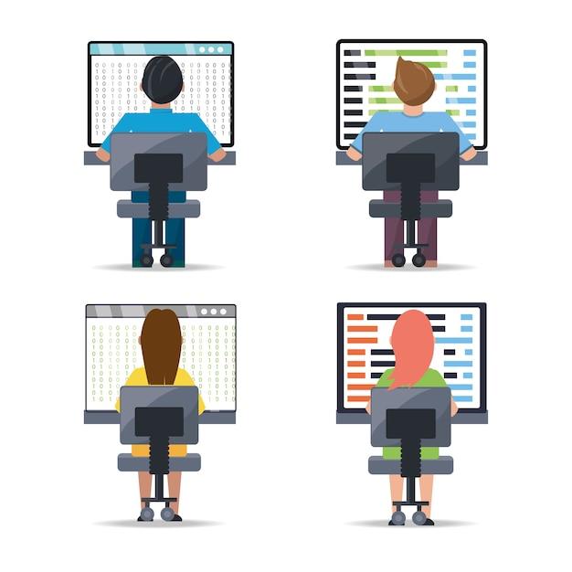 Web developer working on computer programming coding Premium Vector