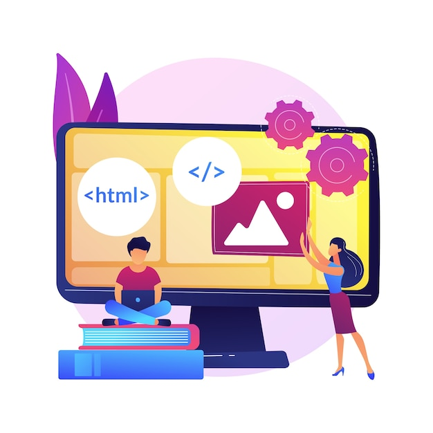Web developers courses. computer programming, web design, script and coding study. computer science student learning interface structure components Free Vector