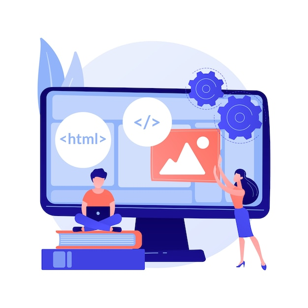 Web developers courses. computer programming, web design, script and coding study. computer science student learning interface structure components. Free Vector
