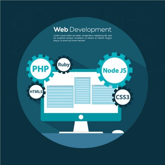 Web development background in blue tones Vector | Premium ...