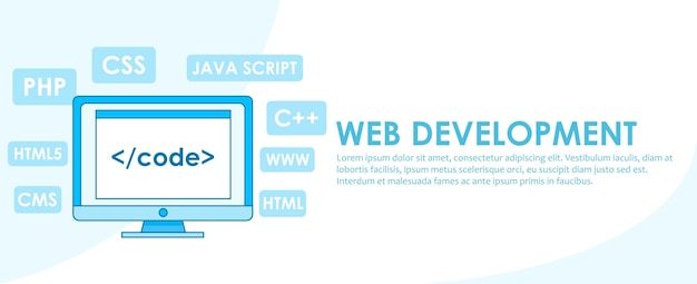 Web development banner. computer with window a computer with a browser window. Free Vector