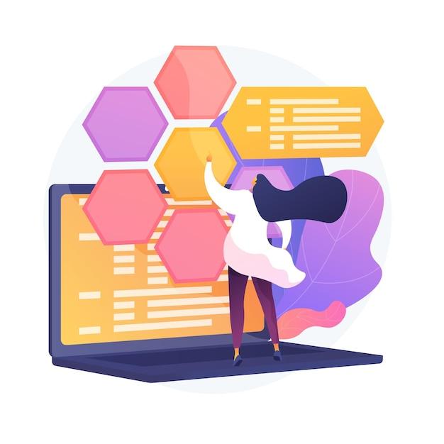 Sviluppo web e codifica. it, ottimizzazione di siti web, test di software per computer. programmatore e sviluppatore che lavora personaggio piatto femminile. Vettore gratuito