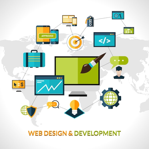 Web development composition Free Vector