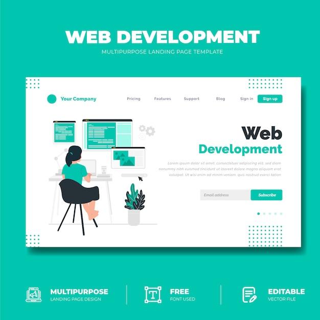 Web開発コンセプトのランディングページ Premiumベクター